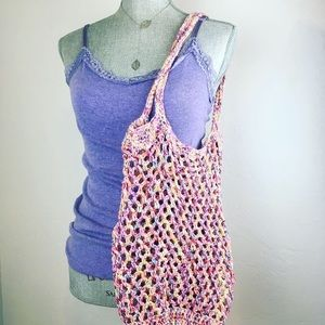Womens Tote Bag produce bag 100% cotton pink